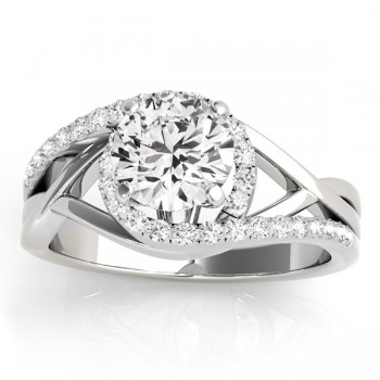 Diamond Halo Twisted Engagement Ring Setting 14k White Gold 0.25ct