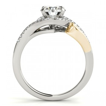 Swirl Bypass Halo Diamond Engagement Ring 14k Two-Tone Gold 0.20ct