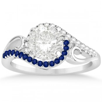 Swirl Bypass Diamond Blue Sapphire Engagement Ring 14k W Gold 0.20ct