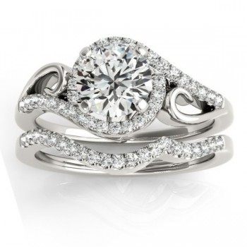 Diamond Swirl Engagement Ring & Band Bridal Set 14k White Gold 0.36ct
