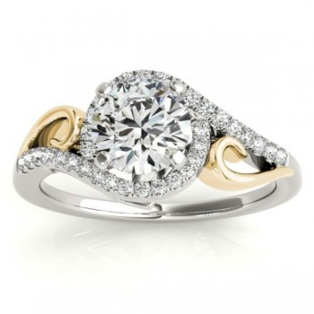 Diamond Swirl Engagement Ring Bridal Set 14k Two-Tone Gold 0.36ct