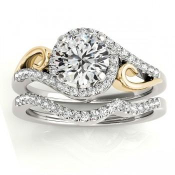Diamond Swirl Engagement Ring Bridal Set 18k Two-Tone Gold (0.36ct)