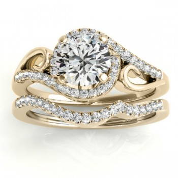 Diamond Swirl Engagement Ring & Band Bridal Set 18k Yellow Gold (0.36ct)