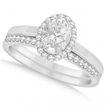 Oval Diamond Halo Engagement Bridal Ring Set 14k White Gold 0.75ct