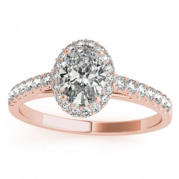 Diamond Halo Oval Shape Engagement Ring 14k Rose Gold (0.26ct)