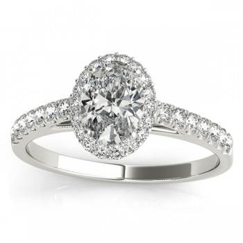 Diamond Halo Oval Shape Engagement Ring 14k White Gold (0.26ct)