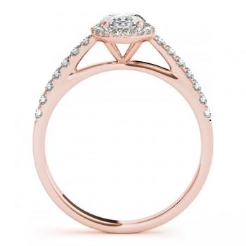 Diamond Halo Oval Shape Engagement Ring 18k Rose Gold (0.26ct)