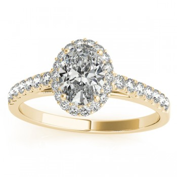 Diamond Accented Halo Oval Shaped Bridal Set 14k Yellow Gold (0.37ct)