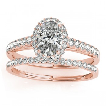 Diamond Accented Halo Oval Shaped Bridal Set 18k Rose Gold (0.37ct)