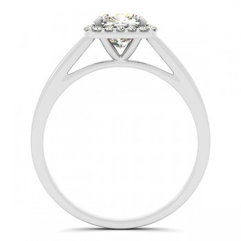 Cushion Cut Diamond Halo Engagement Ring in 14k White Gold (1.45ct)