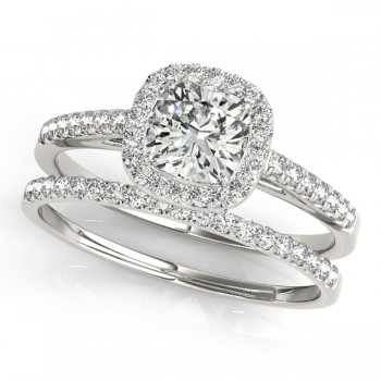 Cushion Diamond Halo Bridal Set 14k White Gold (1.65ct)
