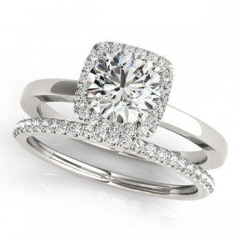Diamond Square Halo Bridal Set 14k White Gold (1.26ct)