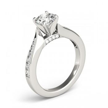 Graduated Diamond Swirl Engagement Ring 14k White Gold (0.28ct)