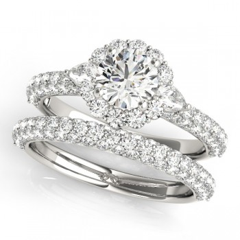 Pave' Flower Halo Pear Accents Diamond Bridal Set 14k White Gold 2.50ct