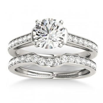 Diamond Accent Bridal Set 14k White Gold (0.48ct)