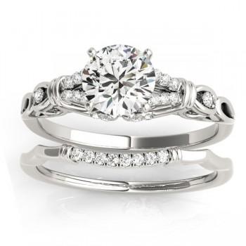 Diamond Antique Style Bridal Set Setting Palladium(0.18ct)