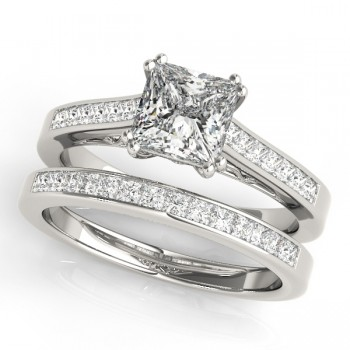 Double Prong Princess-Cut Diamond Bridal Set 14k White Gold (1.50ct)