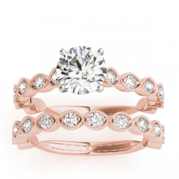Vintage Marquise Diamond Bridal Set Setting 18k Rose Gold (0.80ct)