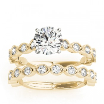 Vintage Marquise Diamond Bridal Set Setting 18k Yellow Gold (0.80ct)