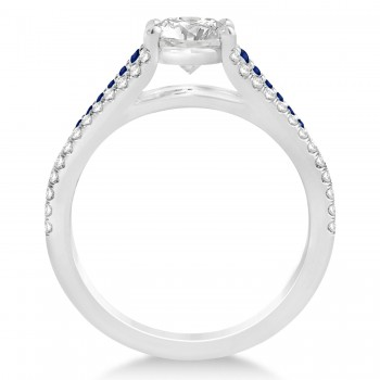 Blue Sapphire & Diamond Engagement Ring 14k White Gold (1.33ct)