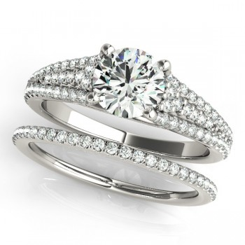 Diamond Three Row Engagement Ring Bridal Set 14k White Gold (1.47ct)