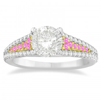 Pink Sapphire & Diamond 3 Row Bridal Set 14k Two Tone Gold (0.47ct)