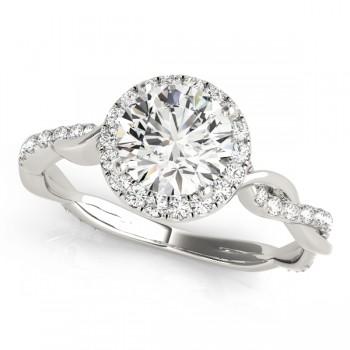 Diamond Twisted Halo Engagement Ring 14k White Gold (1.32ct)