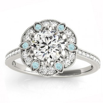 Aquamarine & Diamond Floral Engagement Ring 14K White Gold (0.23ct)