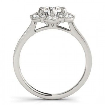 Diamond Accented Halo Engagement Ring Setting 14K White Gold (0.23ct)
