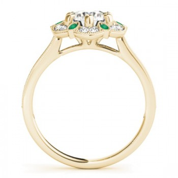 Emerald & Diamond Floral Engagement Ring 18K Yellow Gold (0.23ct)