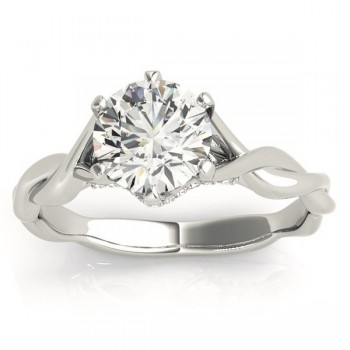 Diamond 6-Prong Twisted Engagement Ring Setting 14k White Gold (.11ct)
