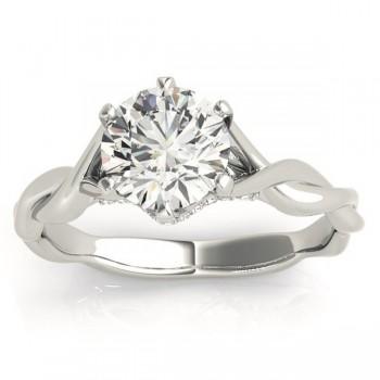 Diamond 6-Prong Twisted Engagement Ring Setting 14k White Gold (.11ct)