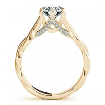 Diamond 6-Prong Twisted Engagement Ring Setting 14k Yellow Gold (.11ct)