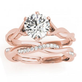 Diamond 6-Prong Twisted Bridal Set Setting 14k Rose Gold (0.19ct)