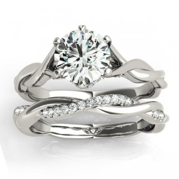 Diamond 6-Prong Twisted Bridal Set Setting 14k White Gold (0.19ct)
