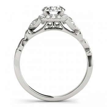Diamond Antique Style Engagement Ring 14k White Gold (0.89ct)
