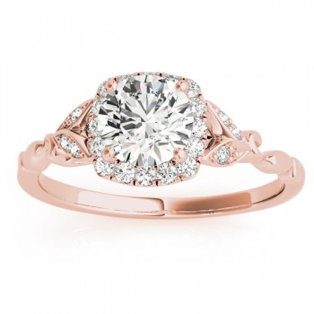 Butterfly Halo Diamond Engagement Ring 18k Rose Gold (0.14ct)