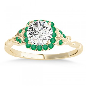 Emerald Butterfly Halo Engagement Ring 18k Yellow Gold (0.14ct)