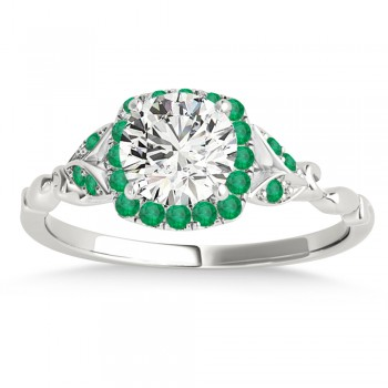 Emerald Butterfly Halo Engagement Ring Palladium (0.14ct)