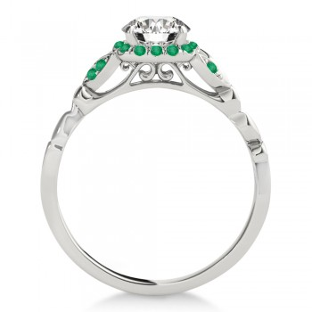 Emerald Butterfly Halo Engagement Ring Platinum (0.14ct)