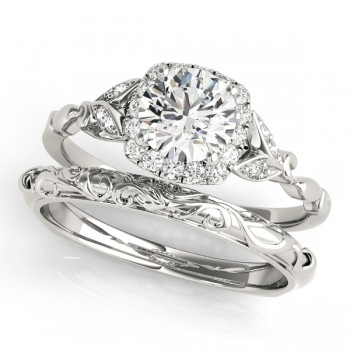 Diamond Antique Style Bridal Set 14k White Gold (0.89ct)