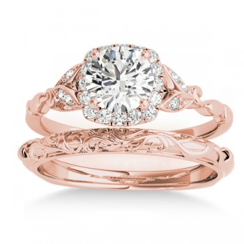 Diamond Antique Style Butterfly Bridal Set 14k Rose Gold (0.14ct)