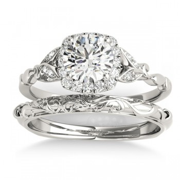 Diamond Antique Style Butterfly Bridal Set 14k White Gold (0.14ct)