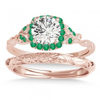 Emerald Butterfly Halo Bridal Set 18k Rose Gold (0.14ct)