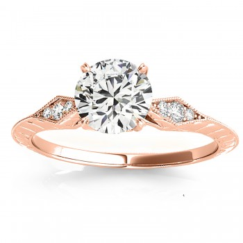Diamond Accented Sidestone Engagement Ring Setting 18k Rose Gold (0.26ct)