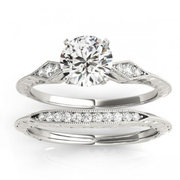 Diamond Accented Sidestone Setting Bridal Set 14k White Gold (0.31ct)