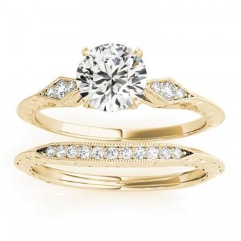 Diamond Accented Sidestone Setting Bridal Set 18k Yellow Gold (0.31ct)