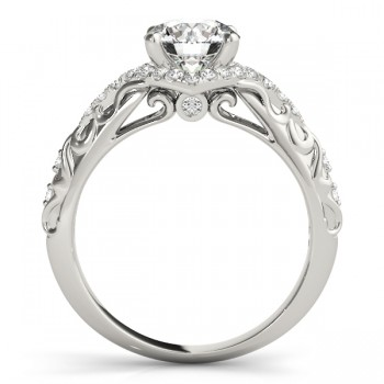 Diamond Antique Style Swirl Engagement Ring 14k White Gold (1.17ct)