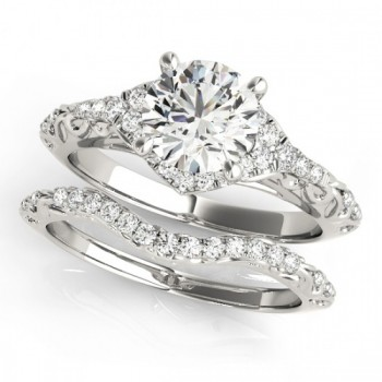 Diamond Antique Style Swirl Bridal Set 14k White Gold (1.25ct)