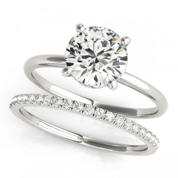 Diamond Solitaire Bridal Set 14k White Gold (1.20ct)